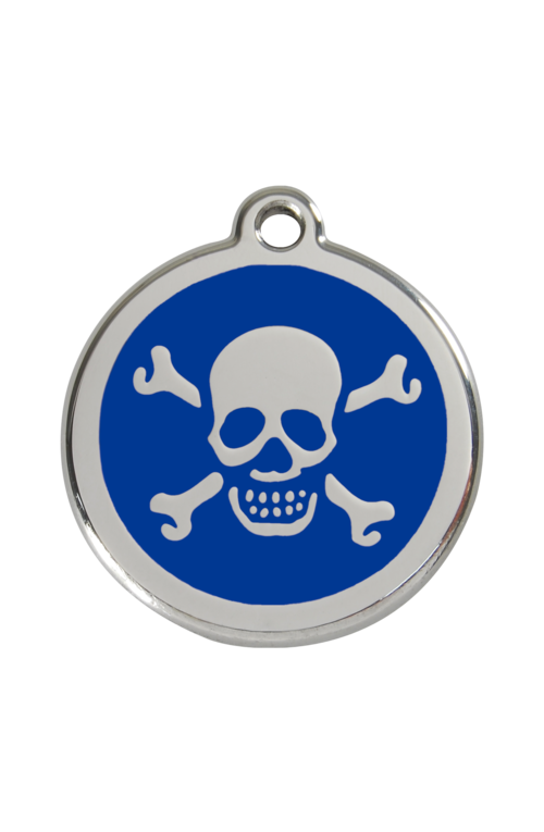 Dark Blue Skull & Crossbones Pet Tag