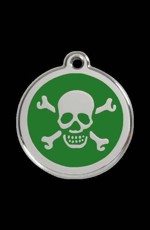 Green Skull & Crossbones Pet Tag