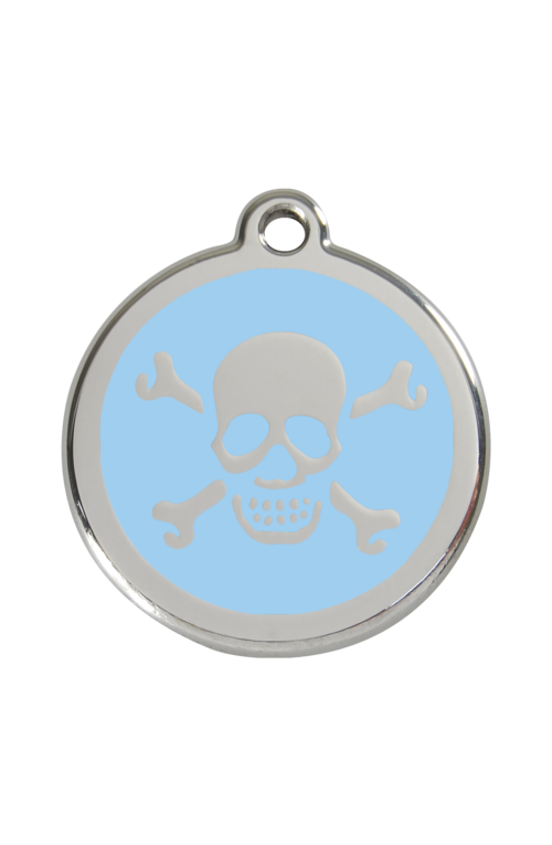 Light Blue Skull & Crossbones Pet Tag