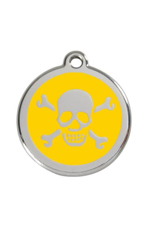 Yellow Skull & Crossbones Pet Tag