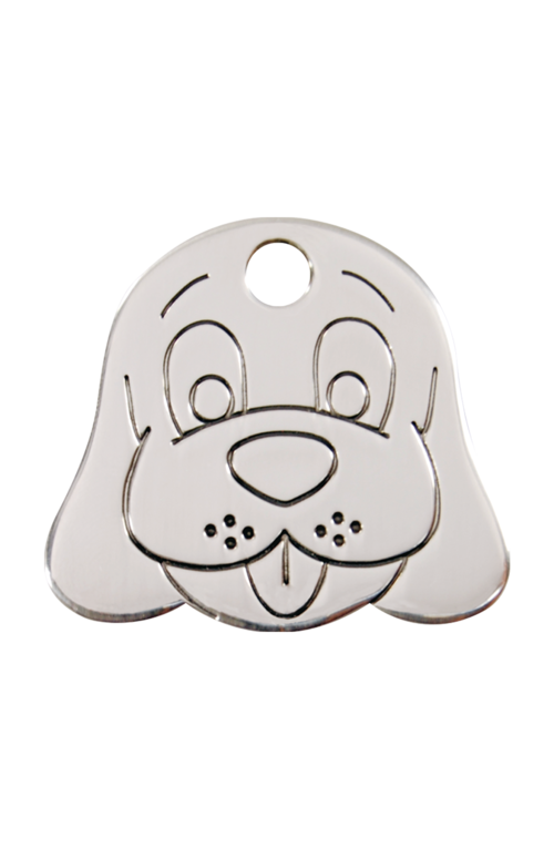 Stainless Steel Dog Face Pet Tag