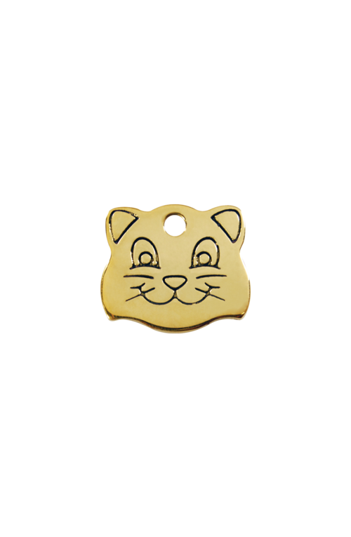 Brass Cat Face Pet Tag