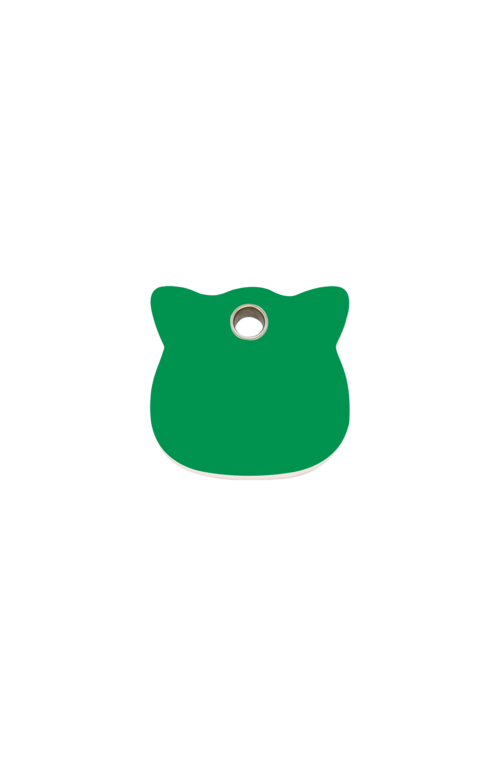 Green Cat Head Pet Tag