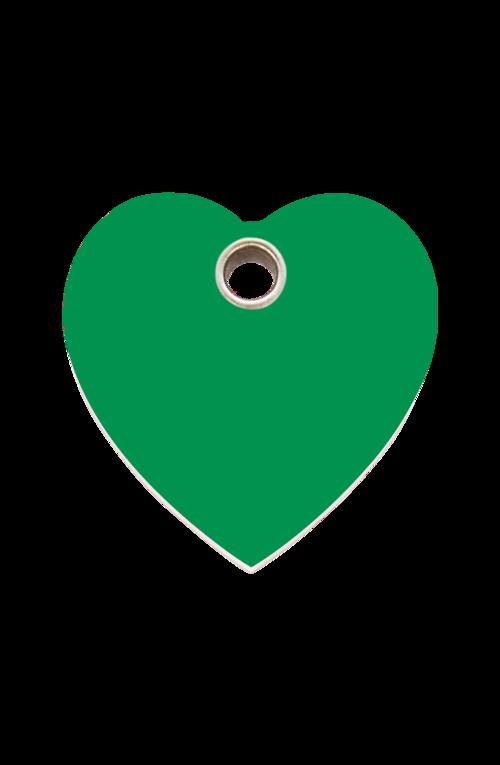 Green Heart Plastic Pet Tag