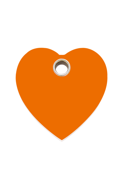 Orange Heart Plastic Pet Tag