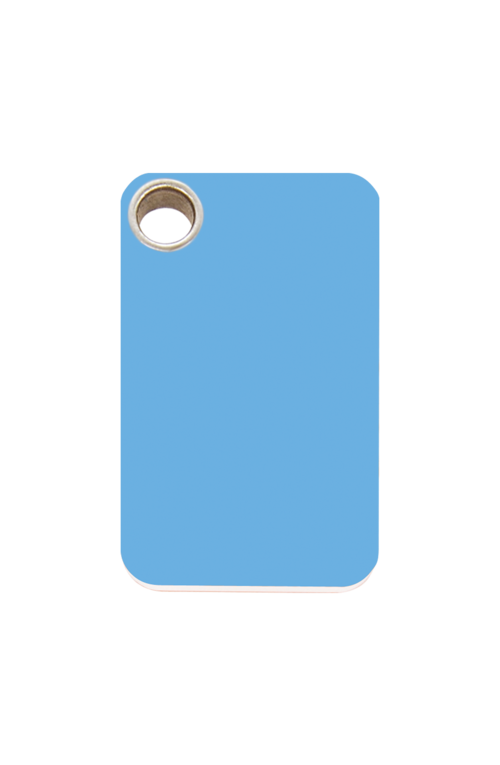 Light Blue Rectangle Plastic Pet Tag