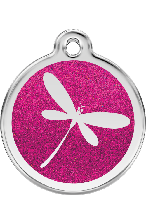 Hot Pink Glitter Dragonfly Pet Tag