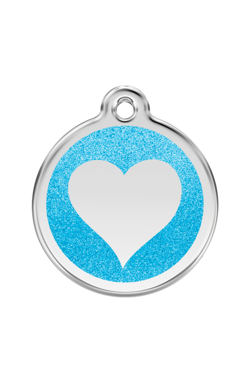 Aqua Glitter Heart Pet Tag