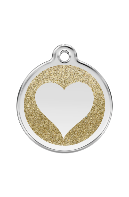 Gold Glitter Heart Pet Tag