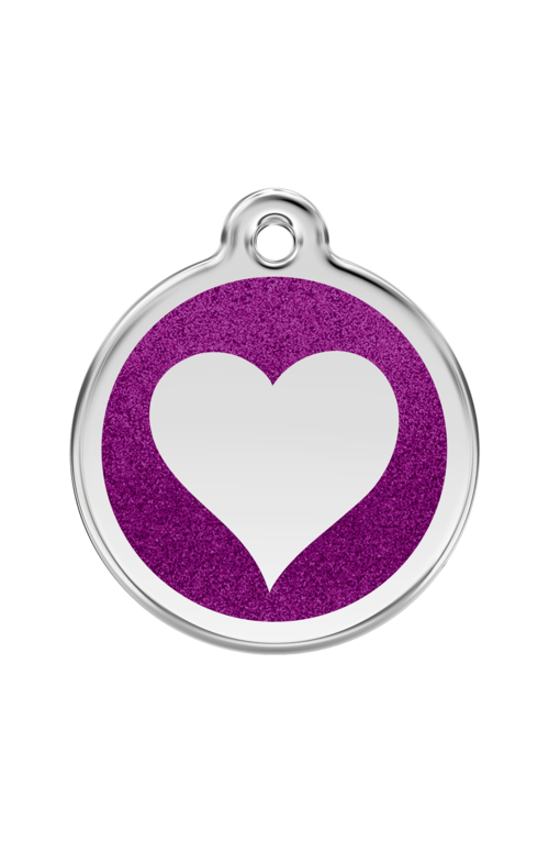 Purple Glitter Heart Pet Tag