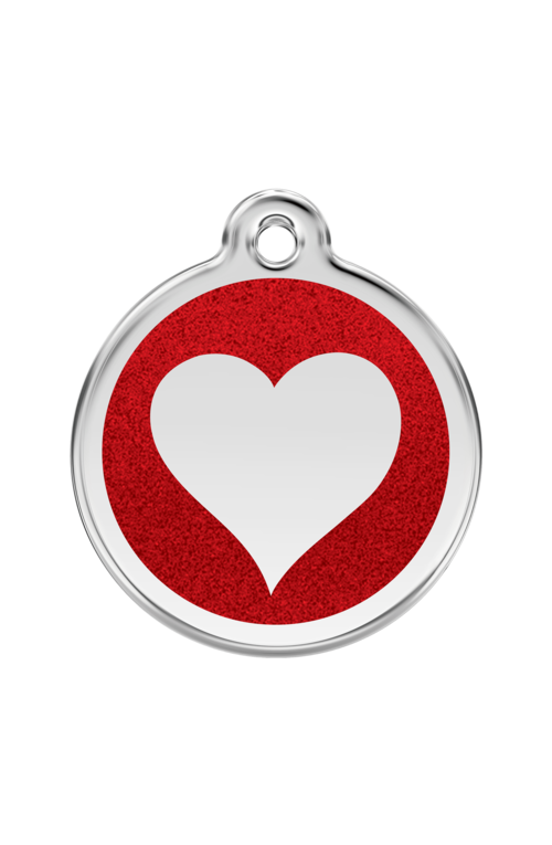Red Glitter Heart Pet Tag