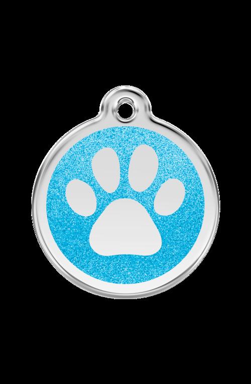 Aqua Glitter Paw Print Pet Tag