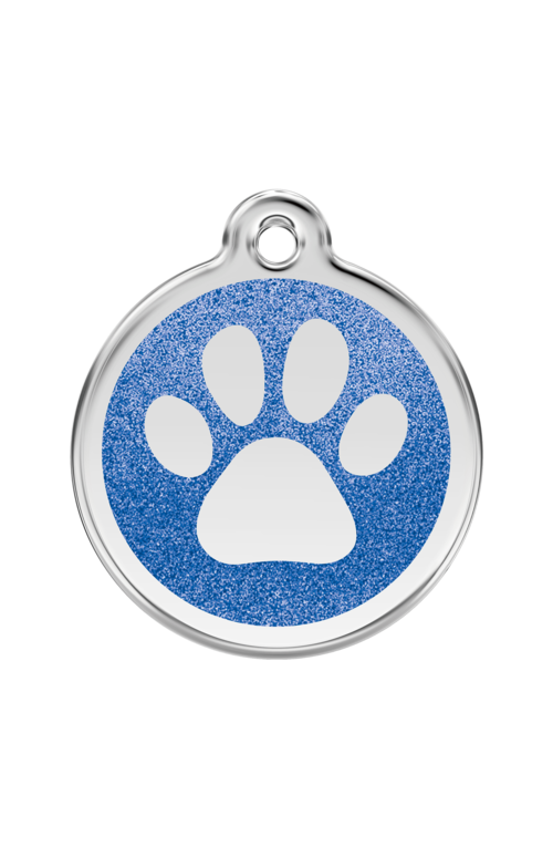 Dark Blue Glitter Paw Print Pet Tag
