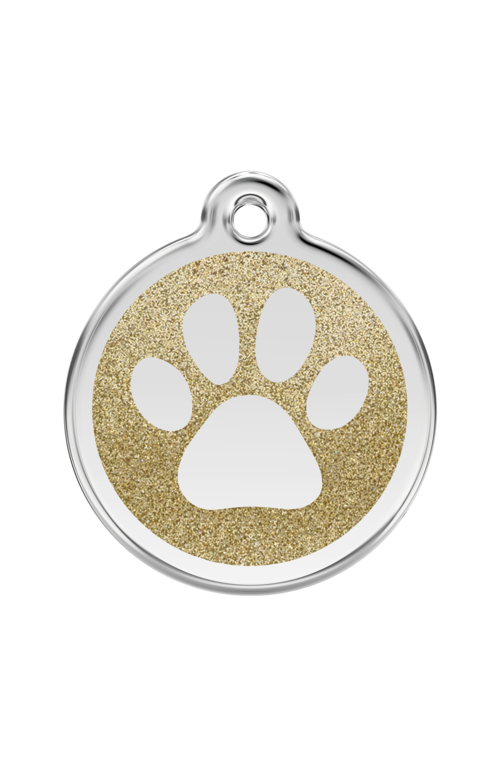Gold Glitter Paw Print Pet Tag
