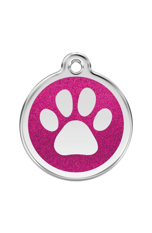 Hot Pink Glitter Paw Print Pet Tag