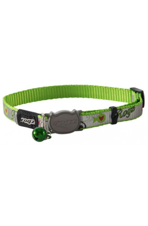 Rogz Reflecto Cat Collar 11mm - Lime Fish