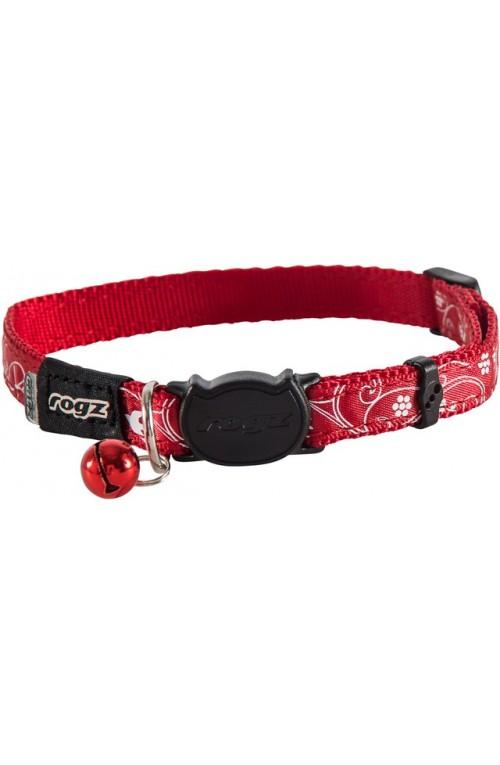 Rogz Silky Cat Collar 11mm - Red Filigree