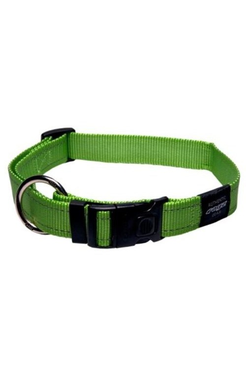Rogz Utility Reflective Stitching Dog Collar - Lime
