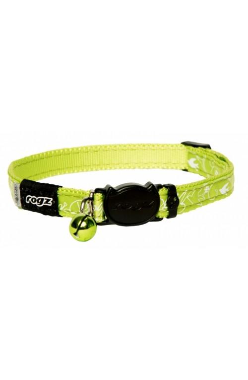 Rogz Silky Cat Collar 11mm - Lime Filigree