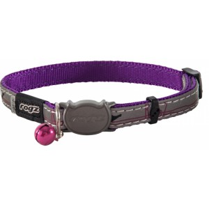 Rogz Night Cat Collar 11mm - Purple Budgies