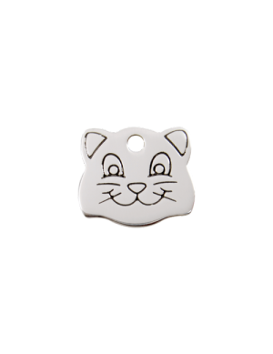 Stainless Steel Cat Face Pet Tag