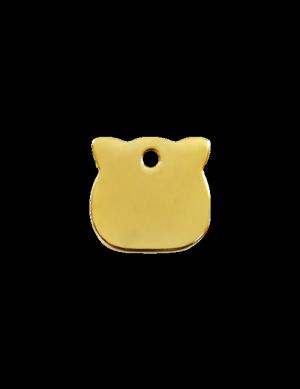 Brass Cat Head Pet Tag