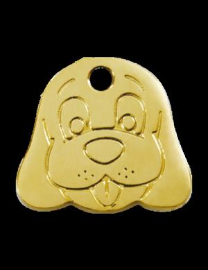 Brass Dog Face Pet Tag