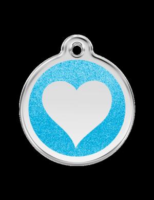 Aqua Glitter Heart Pet Tag