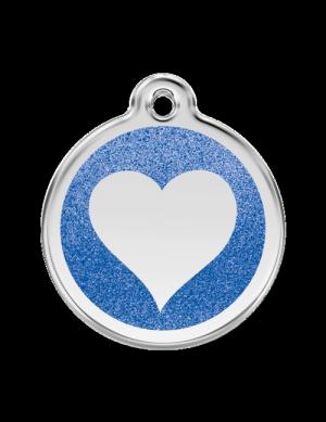 Dark Blue Glitter Heart Pet Tag