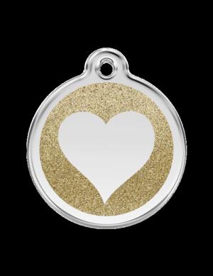 Gold Glitter Heart Pet Tag