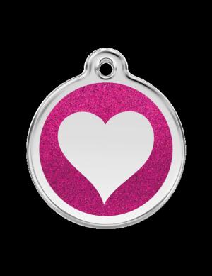 Hot Pink Glitter Heart Pet Tag
