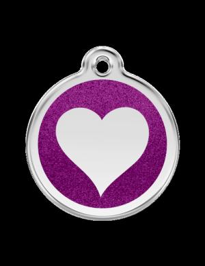 Purple Glitter Heart Pet Tag