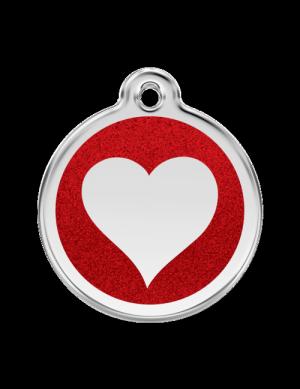 Red Glitter Heart Pet Tag