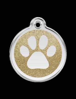 Gold Glitter Paw Print Pet Tag