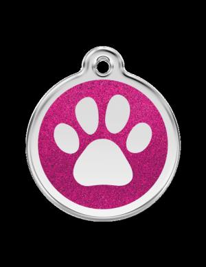 Hot Pink Glitter Paw Print Pet Tag