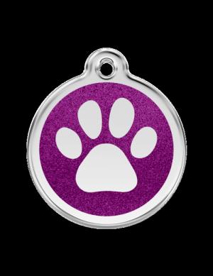 Purple Glitter Paw Print Pet Tag