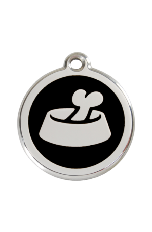 Black Bone in Bowl Pet Tag