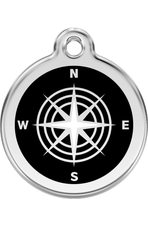 Black Compass Pet Tag