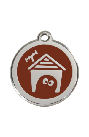 Brown Dog House Pet Tag