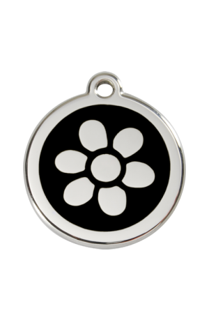 Black Flower Pet Tag
