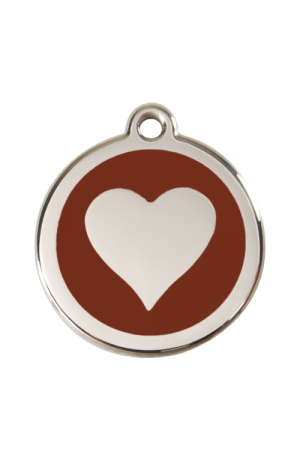 Brown Heart Pet Tag