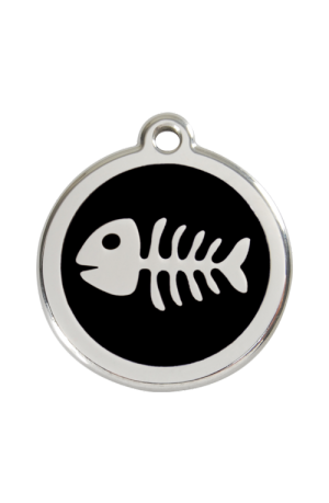 Black Fish Skeleton Pet Tag