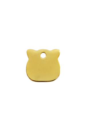 Brass Cat Head Pet Tag