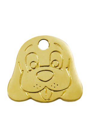 Brass Dog Face Pet Tag