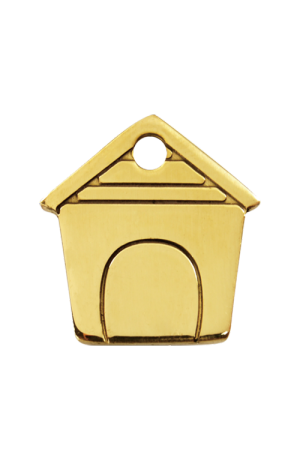 Brass Dog House Pet Tag