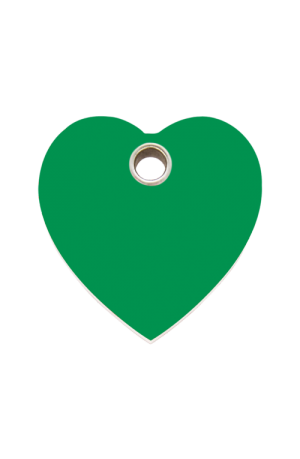 Green Heart Plastic Pet Tag
