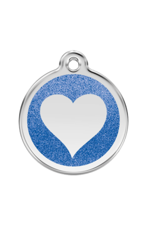 Dark Blue Glitter Heart Pet Tag