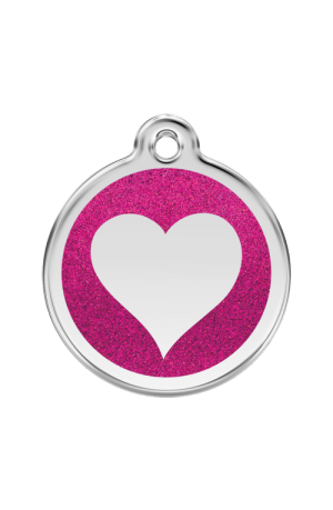 Hot Pink Glitter Heart Pet Tag
