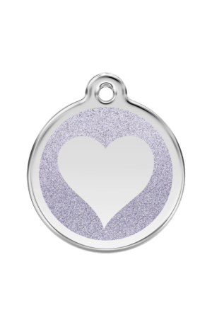 Silver Glitter Heart Pet Tag
