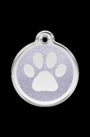 Silver Glitter Paw Print Pet Tag